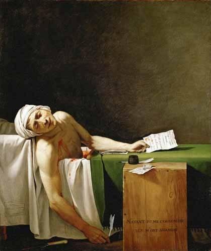 pinturas-de-retratos - Quadro -Jean Paul Marat, dead in his bathtub (Muerte de Marat)- - David, Jacques Louis