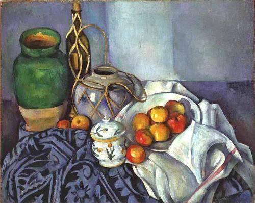 decorative paintings - Picture -Bodegón con ollas y frutas, 1890- - Cezanne, Paul