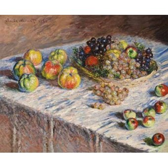 naturezas mortas - Quadro -Bodegon con uvas, 1888- - Monet, Claude