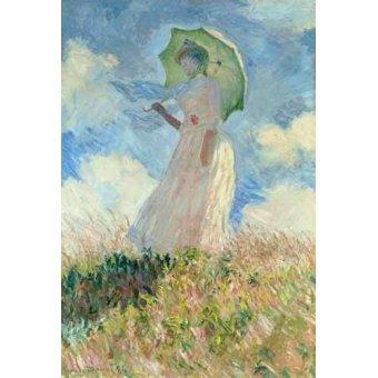 pinturas de retratos - Quadro -Estudio de mujer con parasol girada a la izquierda, 1886- - Monet, Claude