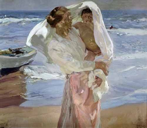 pinturas-de-retratos - Quadro -Just Out of the Sea, 1915- - Sorolla, Joaquin