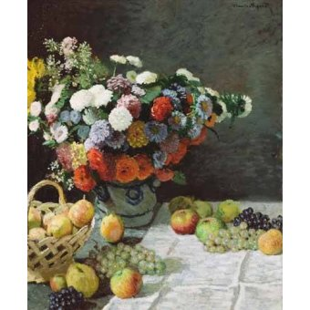 naturezas mortas - Quadro -Flores y Frutas, 1869- - Monet, Claude
