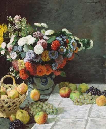 naturezas-mortas - Quadro -Flores y Frutas, 1869- - Monet, Claude