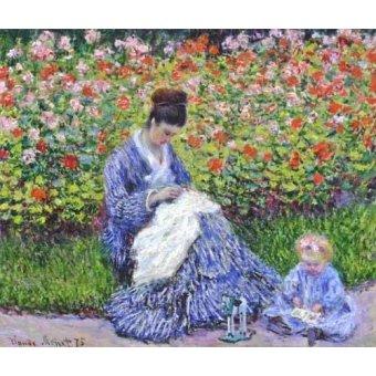 - Quadro -Camille Monet con un bebe en el jardin, 1875- - Monet, Claude