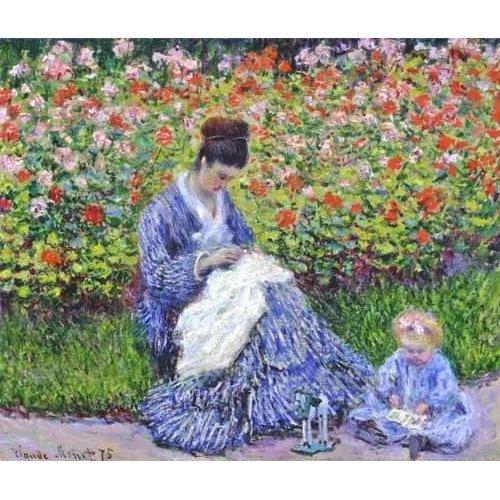 Quadro -Camille Monet con un bebe en el jardin, 1875-