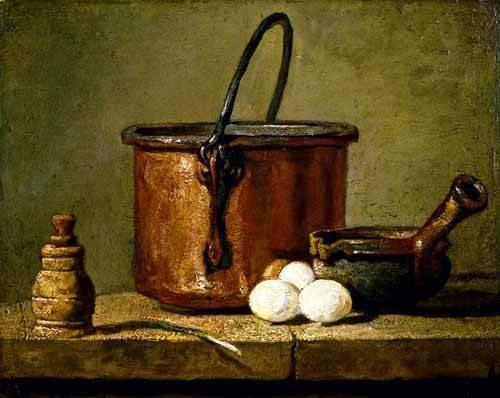 decorative paintings - Picture -Utensilios de cocina- - Chardin, Jean Bapt. Simeon