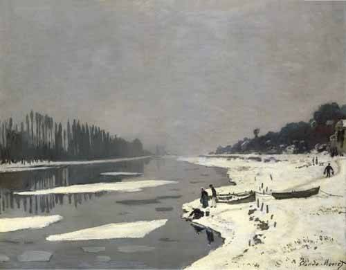 quadros-de-paisagens - Quadro -Ghiacci sulla Senna a Bougival, 1867-68- - Monet, Claude
