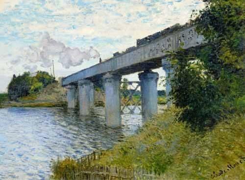quadros-de-paisagens - Quadro -El Puente Ferroviario En Argenteuil, 1874- - Monet, Claude