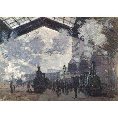 pinturas de paisagens - Quadro -La Estacion de Saint Lazare en Paris, 1877-