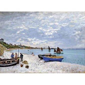 quadros de paisagens marinhas - Quadro -La spiaggia a Saint-Adresse, 1867- - Monet, Claude