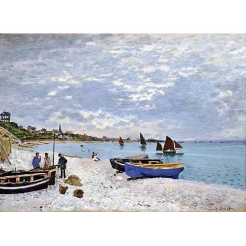 pinturas de paisagens marinhas - Quadro -La spiaggia a Saint-Adresse, 1867-
