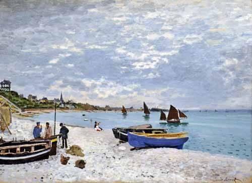 quadros-de-paisagens-marinhas - Quadro -La spiaggia a Saint-Adresse, 1867- - Monet, Claude