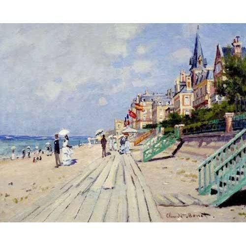 pinturas de paisagens marinhas - Quadro -La spiaggia a Trouville, 1870-