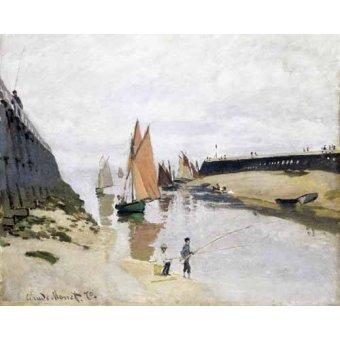 quadros de paisagens marinhas - Quadro -La Entrada Del Puerto de Trouville, 1870- - Monet, Claude