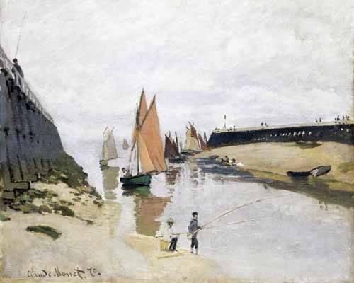 quadros-de-paisagens-marinhas - Quadro -La Entrada Del Puerto de Trouville, 1870- - Monet, Claude