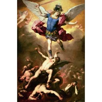 quadros religiosos - Quadro -The Archangel Michael hurls the rebellious angels into the abys - Giordano, Luca (Lucas Jordan)