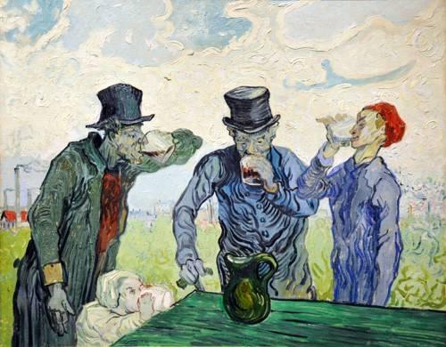 pinturas-de-retratos - Quadro -The Drinkers, 1890- - Van Gogh, Vincent