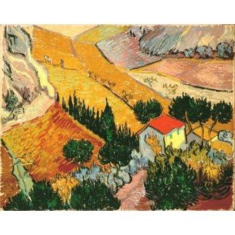 quadros de paisagens - Quadro -Landscape with House and Ploughman, 1889- - Van Gogh, Vincent