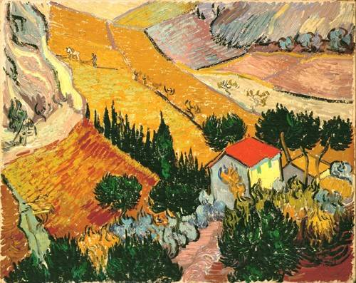 quadros-de-paisagens - Quadro -Landscape with House and Ploughman, 1889- - Van Gogh, Vincent