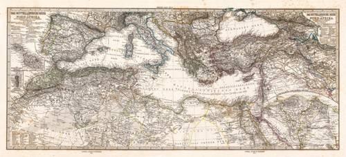 imagens-de-mapas-gravuras-e-aquarelas - Quadro -Mar Mediterraneo y Norte de Africa (1875)- - Mapas antigos - Anciennes cartes