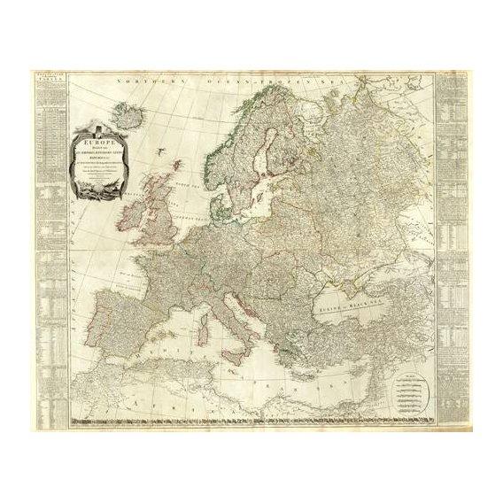 imagens de mapas, gravuras e aquarelas - Quadro -Europa (1787)-