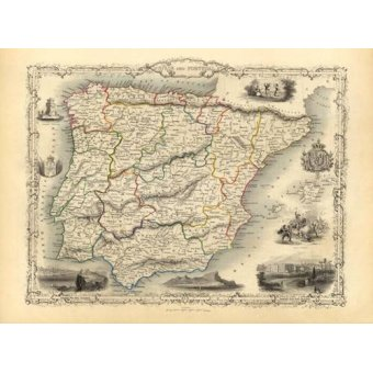 maps, drawings and watercolors - Picture -España y Portugal (1851)- - Mapas antiguos