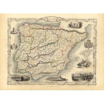imagens de mapas, gravuras e aquarelas - Quadro -España y Portugal (1851)- - Mapas antiguos