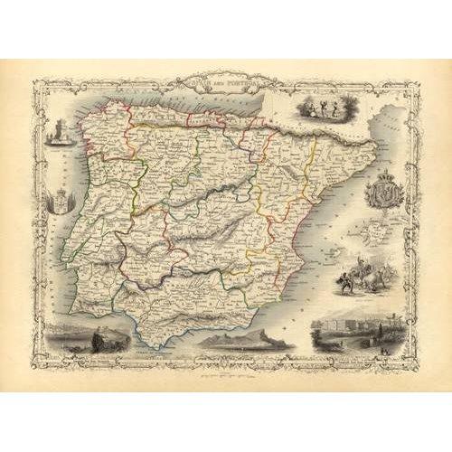 imagens de mapas, gravuras e aquarelas - Quadro -España y Portugal (1851)-
