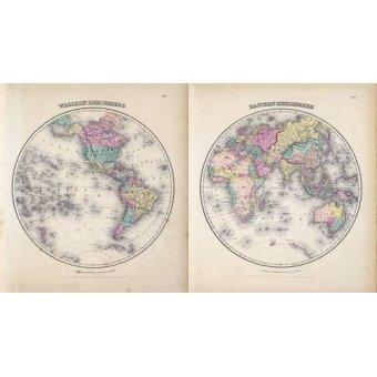 cuadros de mapas, grabados y acuarelas - Cuadro -Hemisferios Este y Oeste (1855)- - Mapas antiguos