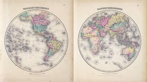 imagens-de-mapas-gravuras-e-aquarelas - Quadro -Hemisferios Este y Oeste (1855)- - Mapas antigos - Anciennes cartes