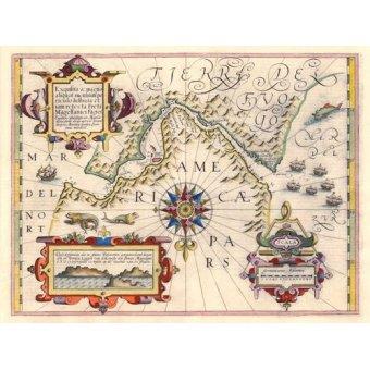 imagens de mapas, gravuras e aquarelas - Quadro -Estrecho de Magallanes (Jodocus Hondius)- - Mapas antiguos