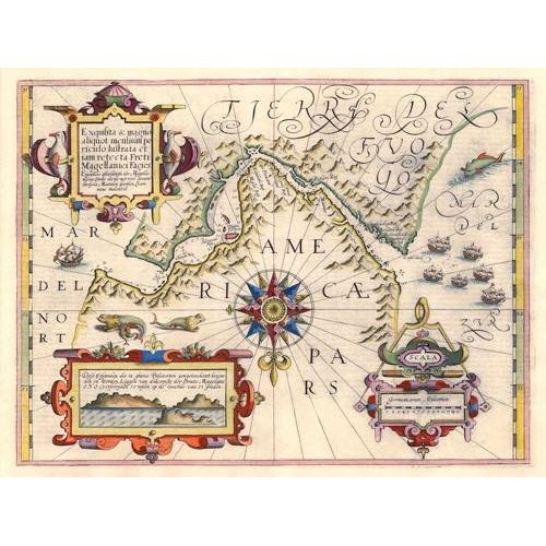 Quadro -Estrecho de Magallanes (Jodocus Hondius)-