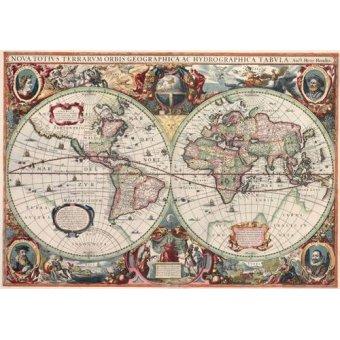 imagens de mapas, gravuras e aquarelas - Quadro -Nova totius Terrarum Orbis geographica ac hydrographica tabula - Mapas antiguos - Anciennes cartes