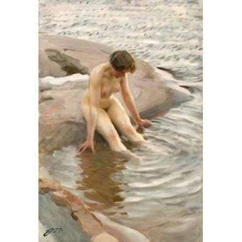 quadros nu artistico - Quadro -Wet, 1910- - Zorn, Anders