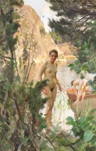 quadros-nu-artistico - Quadro -Jollen, 1918- - Zorn, Anders