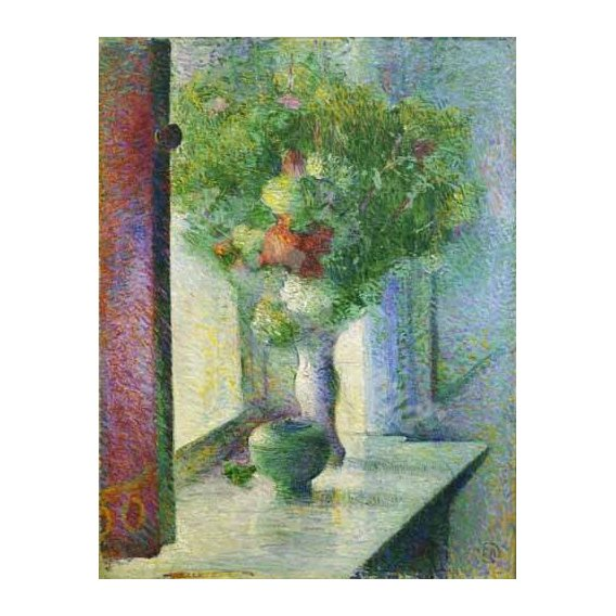 naturezas mortas - Quadro -Still life with a bunch of flowers by the window-