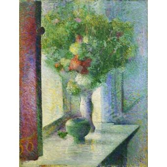 - Quadro -Still life with a bunch of flowers by the window- - Herrmann, Curt