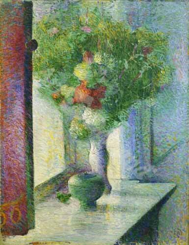 naturezas-mortas - Quadro -Still life with a bunch of flowers by the window- - Herrmann, Curt