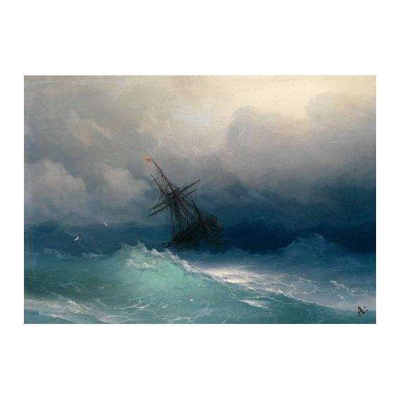 pinturas de paisagens marinhas - Quadro -Ship on Stormy Seas-