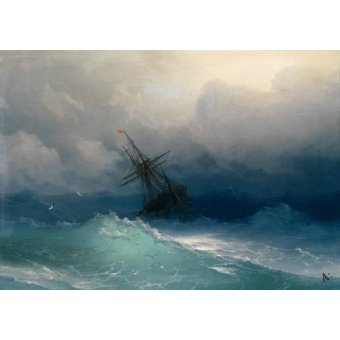 seascapes - Picture -Ship on Stormy Seas- - Aivazovsky, Ivan Konstantinovich