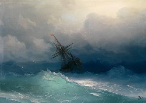 quadros-de-paisagens-marinhas - Quadro -Ship on Stormy Seas- - Aivazovsky, Ivan Konstantinovich