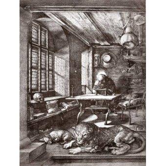 imagens de mapas, gravuras e aquarelas - Quadro -San Jeronimo en su estudio- - Dürer, Albrecht (Albert Durer)