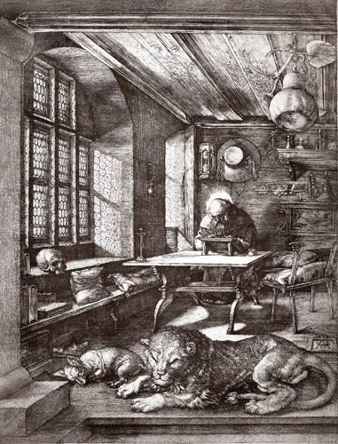 imagens-de-mapas-gravuras-e-aquarelas - Quadro -San Jeronimo en su estudio- - Dürer, Albrecht (Albert Durer)