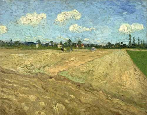 quadros-de-paisagens - Quadro -Ploughed fields (The furrows), 1888- - Van Gogh, Vincent