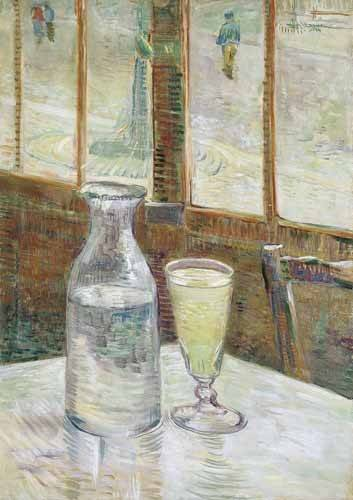 naturezas-mortas - Quadro -Cafe table with absinth, 1887- - Van Gogh, Vincent