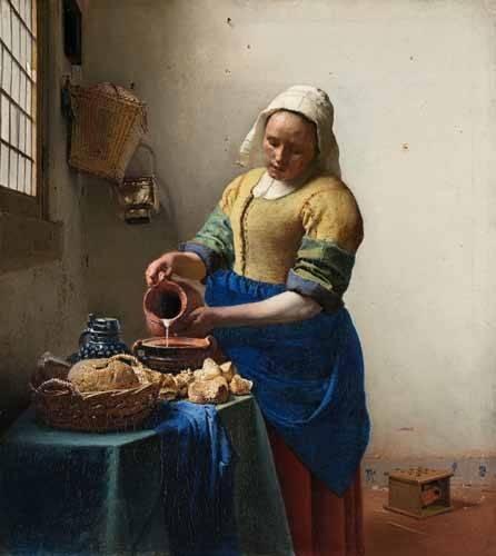 pinturas-de-retratos - Quadro -The Milkmaid, 1660- - Vermeer, Johannes