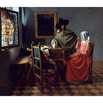 - Quadro -The Glass of Wine- - Vermeer, Johannes