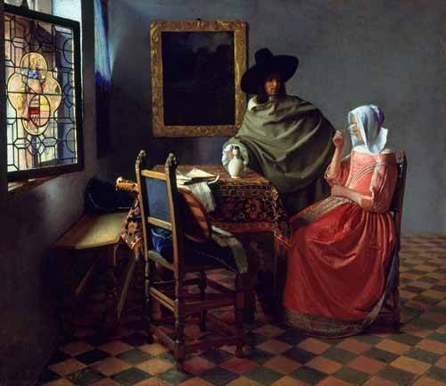 pinturas-de-retratos - Quadro -The Glass of Wine- - Vermeer, Johannes