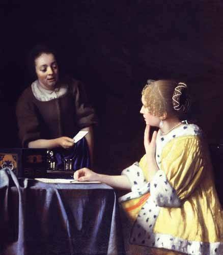 pinturas-de-retratos - Quadro -Mistress and Maid ca. 1666-1667- - Vermeer, Johannes