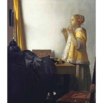 - Quadro -Young Woman with a Pearl Necklace, 1662- - Vermeer, Johannes